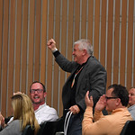 Artist Andre Pater celebrates the sale of Lot 131 Red Arrow.Keeneland sport art auction at Keeneland in Lexington, Ky., on Nov. 21, 2016, in Lexington, Ky.