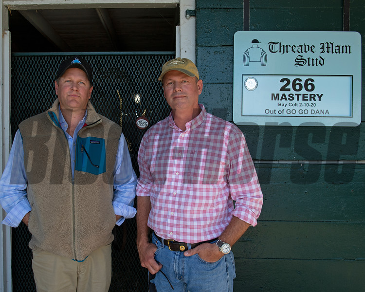 (L-R): Breeders Eric Buckley and Lee MadMillan. Hip 266 colt by Mastery out of Go Go Dana from Threave Main and breeders Eric Buckley and Lee MacMillan<br /> Sales horses at the Keeneland November Sale at Keeneland in Lexington, Ky. on November 10, 2020.