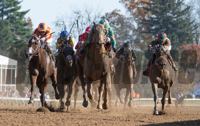 Whitmore with jockey Irad Ortiz Jr. wins the $2M Breeders' Cup Sprint G1 at Keeneland Race Course Saturday Nov. 7,  2020 in Lexington, KY.  Photo by Skip Dickstein