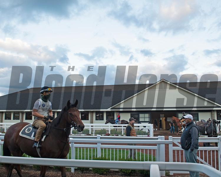 Medina, right, gives instructions before horses head to the track. Robbie Medina training horses at Blackwood Stables near Versailles, Ky.  on October 22, 2020.