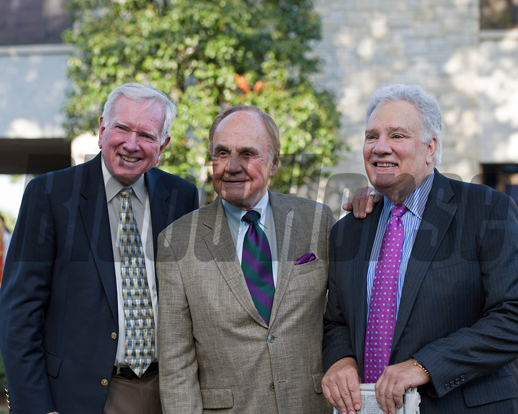 l-r, Larry Conley, Dick Enberg, and Tom Hammonds.<br /> Time and Motion with John Velazquez wins the Queen Elizabeth II Challenge Cup (gr. IT) presented by Lane's End at Keeneland on Oct. 15, 2016, in Lexington, Ky.