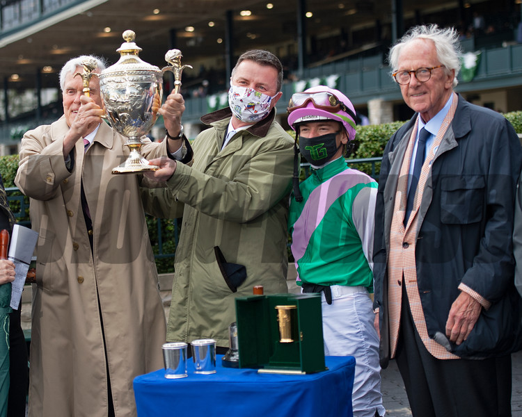 (L-R): John Chandler, with Juddmonte, presenter Dermot Ryan with Coolmore, Tyler Gaffalione, and Coolmore presenter Dick Brodie. Juliet Foxtrot with Tyler Gaffalione wins the Coolmore Jenny Wiley (G1)<br /> at Keeneland near Lexington, Ky., on April 10, 2021.