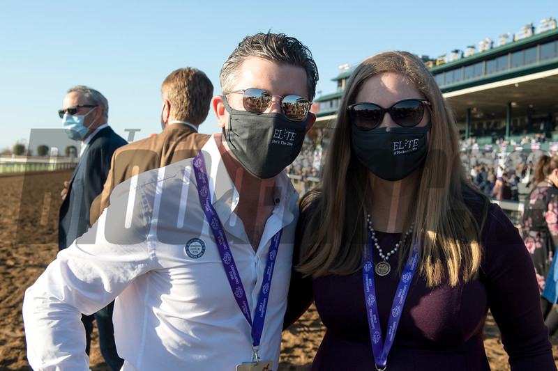 (L-R) Brad Weisbord and Liz Crow in the winner's circle for Monomoy Girl with Florent Geroux win the Breeders' Cup Distaff at Keeneland in Lexington, Ky. on Nov. 7, 2020.