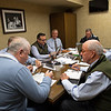 Sales team meeting with consignor Dermot Carty. (L-R): Dermot Carty, John Henderson. (partially hidden), Scott Hazelton, Scott Caldwell, Justin Holmberg, Gabby Gaudet, Kurt Becker, and Ryan. Mahan on  Jan. 13, 2020 Keeneland in Lexington, KY. Photo: Anne M. Eberhardt