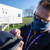 Nathan Horrocks with Equine Productions sets up a Jockey Camera which will be used during Breeders' Cup competition at Keeneland Race Course Wednesday Nov. 4 2020 in Lexington, KY.  Photo by Skip Dickstein