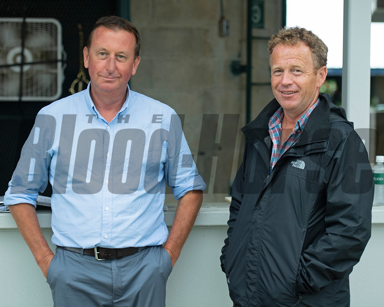 (L-R): Conor Doyle and Neal Clarke with Bedouin Bloodstock<br /> Keeneland September sale yearlings in Lexington, KY on September 13, 2020.