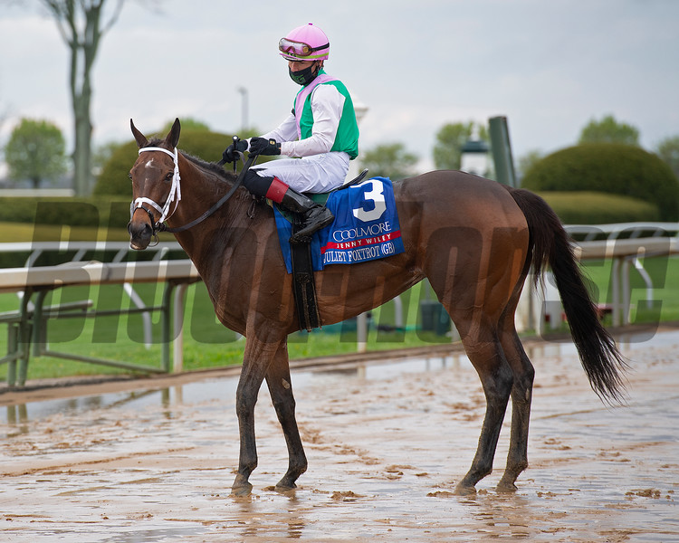 Juliet Foxtrot with Tyler Gaffalione wins the Coolmore Jenny Wiley (G1)<br /> at Keeneland near Lexington, Ky., on April 10, 2021.