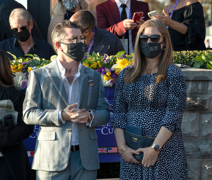 Brad Weisbord and Liz Crow at the Juvenile Fillies Turf at Keeneland in Lexington, Ky. on Nov. 6, 2020.