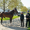 Mighty Heart, Canada's Horse of the Year, with l-r, Melanie Pinto and Sue Lorimer with the Josie Carroll team at Keeneland near Lexington, Ky., on April 16, 2021. .