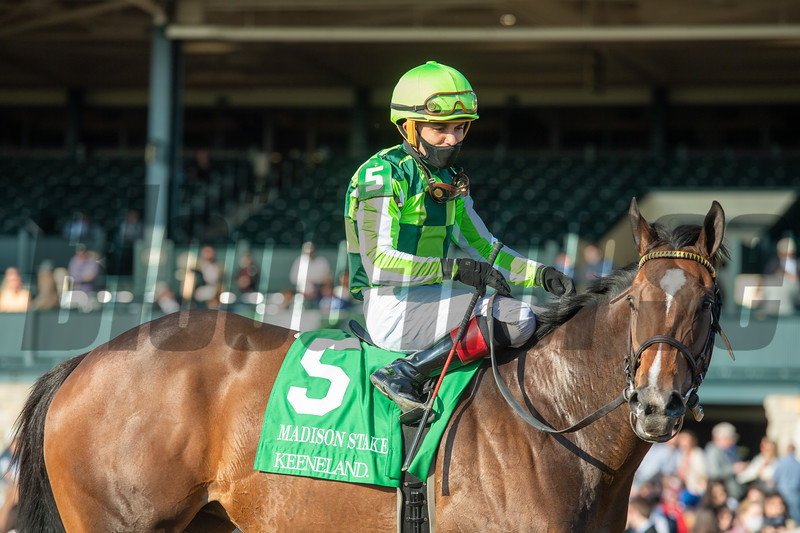 Kimari, with Joel Rosario up, wins the Madison Stakes (G1) at Keeneland on April 3, 2021.