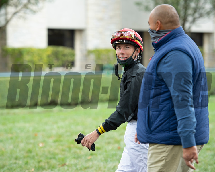 (L-R): Gaffalione talking with Robbie Medina after the race,  #5 Bakers Bay with Tyler Gaffalione in allowance Race 5  at Keeneland on October 18, 2020.