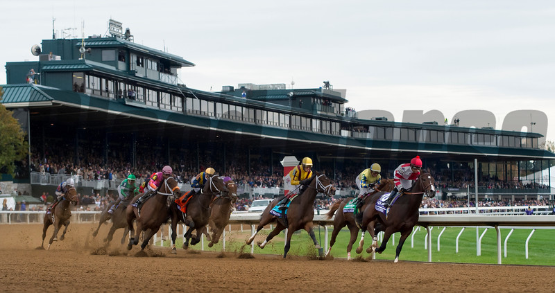 Songbird and jockey Mike Smith win the Breeders' Cup Juvenile Fillies at Keeneland on October 31, 2015. <br /> Photo By: Joseph Rey Au