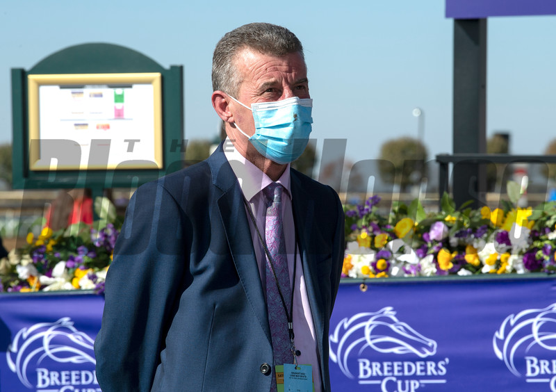 Kevin Ryan in the winner's circle after Glass Slippers with Tom Eaves win the Turf Sprint at Keeneland in Lexington, Ky. on Nov. 7, 2020.