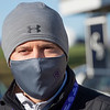 Trainer Chad Brown all covered up to ward off the cold and to be Covid responsible at Keeneland Race Course Wednesday Nov. 4 2020 in Lexington, KY.  Photo by Skip Dickstein