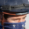 Assistant Trainer Jamie Insole wears a Jockey Camera which will be used during Breeders' Cup competition at Keeneland Race Course Wednesday Nov. 4 2020 in Lexington, KY.  Photo by Skip Dickstein