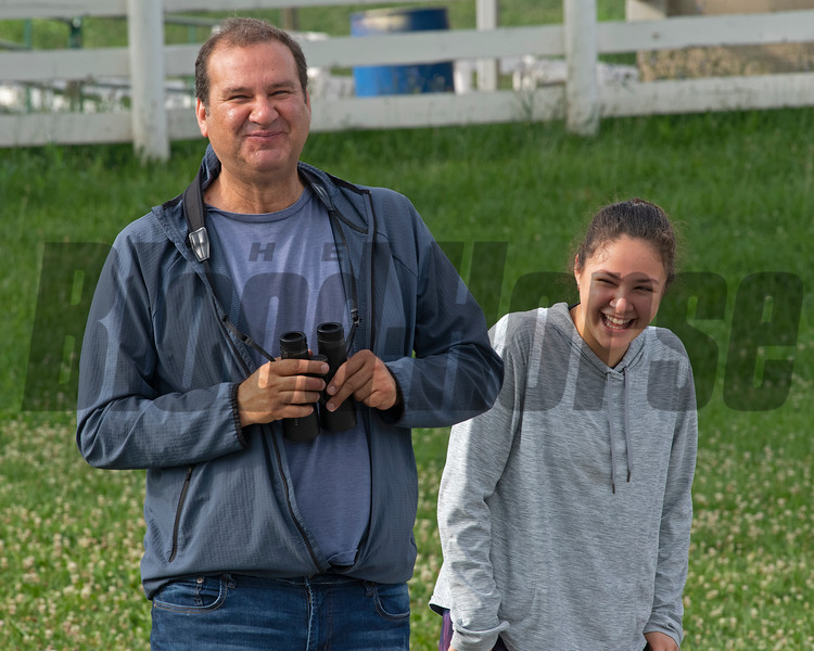 Fausto enjoying a funny moment during training with his daughter Ana. Letruska and trainer Fausto Gutierrez at Keeneland on July 2, 2021.
