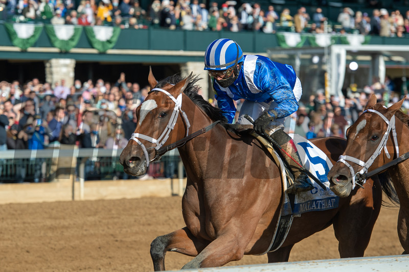 Malathaat wins the Ashland Stakes (G1) at Keeneland on April 3, 2021.