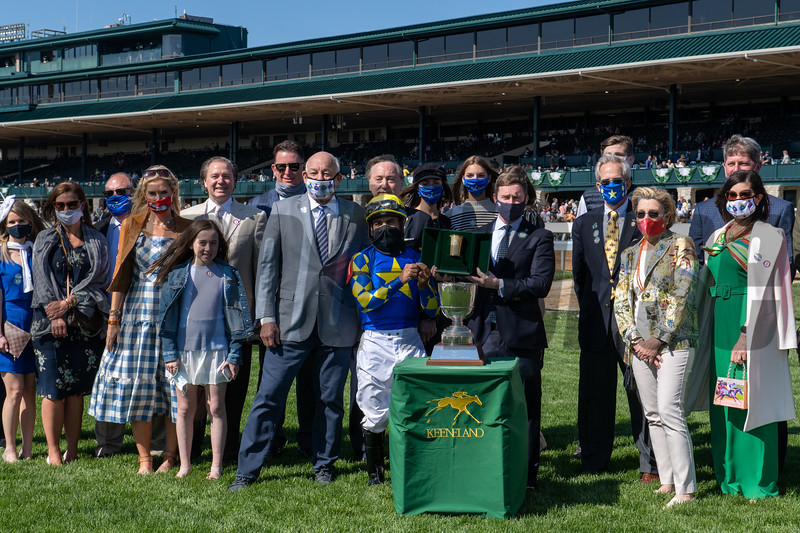 Jouster, Luis Saez up, wins the Appalachian Stakes (G2) at Keeneland on April 3, 2021.