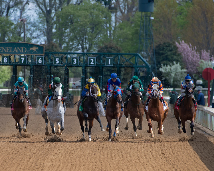 Race 6 stretch, first time by, #7 Abdan (gray on left)<br /> Scenes at Keeneland near Lexington, Ky., on April 15, 2021. .