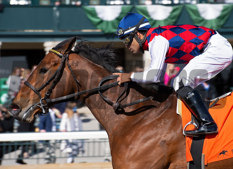 Twenty Carat with Luis Saez wins G3 Beaumont Presented by Keeneland Selects <br /> at Keeneland near Lexington, Ky., on April 2, 2021.