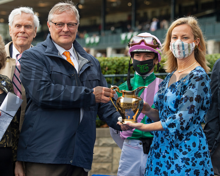 Special gold pitcher presentation to Juddmonte, (L-R) John Chandler, Garrett O'Rourke, Tyler Gaffalione, and Shannon Arvin. Juliet Foxtrot with Tyler Gaffalione wins the Coolmore Jenny Wiley (G1)<br /> at Keeneland near Lexington, Ky., on April 10, 2021.