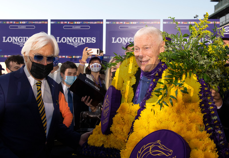 (L-R) Bob Baffert and B. Wayne Hughes in the winner's circle for Authentic with John Velazquez win the Breeders' Cup Longines Classic at Keeneland in Lexington, Ky. on Nov. 7, 2020.