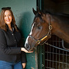 Mighty Heart, Canada's Horse of the Year, with Claire Crosby at Keeneland near Lexington, Ky., on April 16, 2021. .
