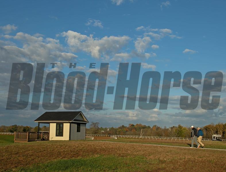 (L-R): Medina and Steve Shahinian walk from the barn area to the training area. Robbie Medina training horses at Blackwood Stables near Versailles, Ky.  on October 22, 2020.