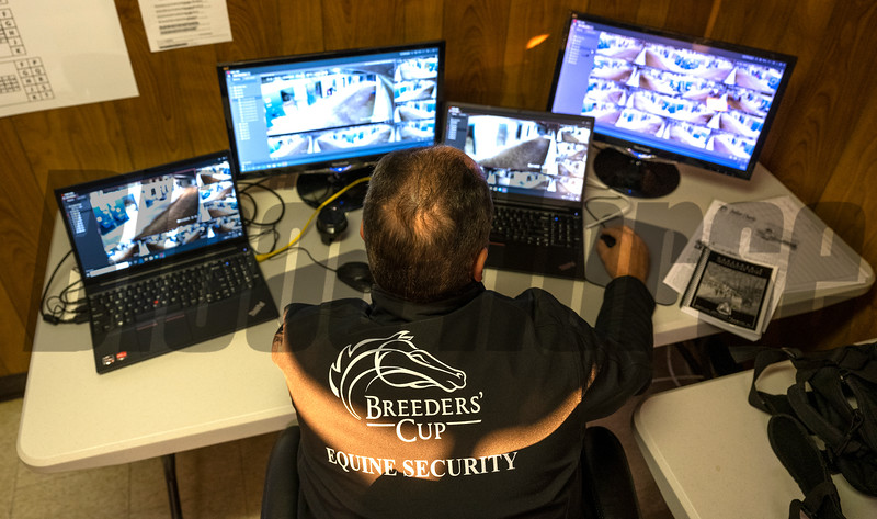 Equine Security Specialist Lance Morell from Parx Race Course works the television console in the Breeders Cup Security offices at Keeneland Race Course Monday Nov. 2 2020 in Lexington, KY.  Photo by Skip Dickstein