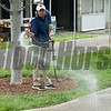 watering down dusty walkways at Chris Baccari Bloodstock consignment<br /> Keeneland September sale yearlings in Lexington, KY on September 12, 2020.