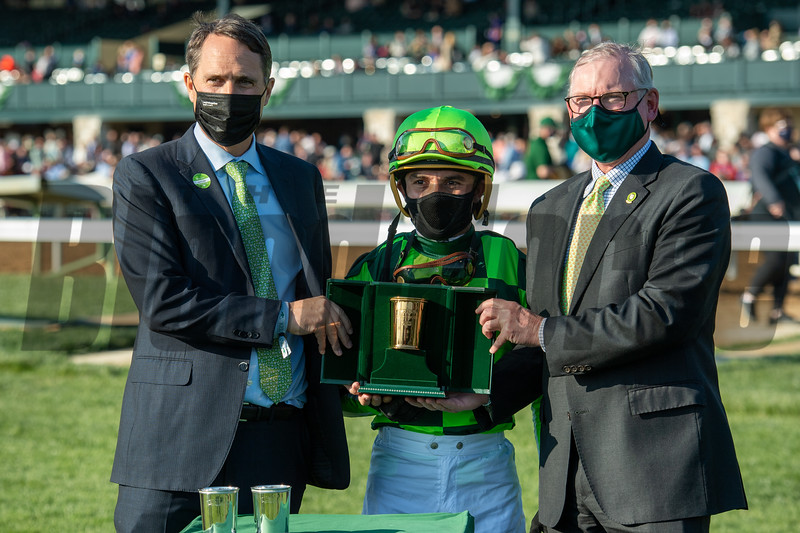 Ben McElroy, Joel Rosario, and Bill Farish after Kimari wins the Madison Stakes (G1) at Keeneland on April 3, 2021.