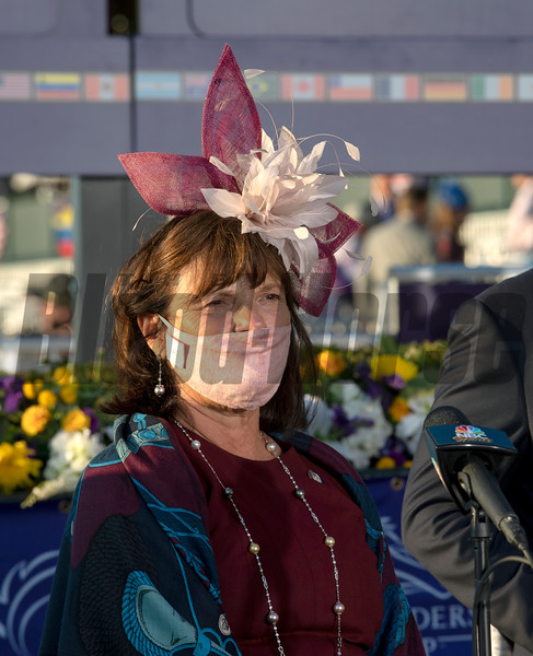 Barbara Banke in the winner's circle for Tarnawa with Colin Keane win the Breeders' Cup Turf at Keeneland in Lexington, Ky. on Nov. 7, 2020. Photo: Anne M. Eberhardt
