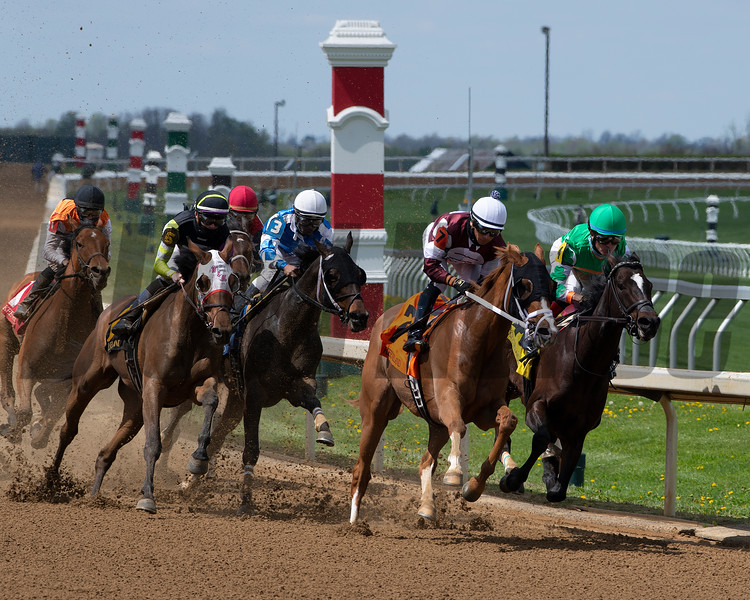 #7 Blonde by Nature with Javier Padron-Barcenas on lead in turn.<br /> Scenes at Keeneland near Lexington, Ky., on April 15, 2021. .