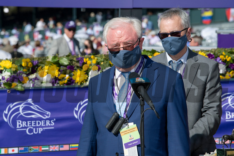 Terry Holdcroft in the winner's circle after Glass Slippers with Tom Eaves win the Turf Sprint at Keeneland in Lexington, Ky. on Nov. 7, 2020.
