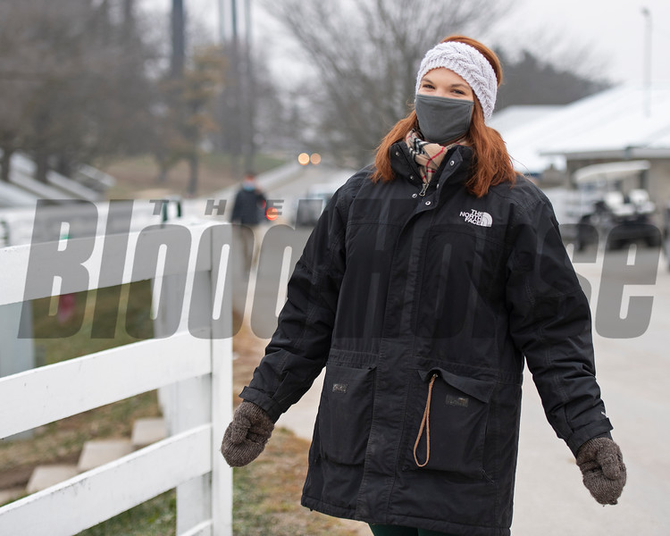 Georgia Keogh working the sales, bundled up and smiling in frigid temperatures<br /> Keeneland January Sales at Keeneland near Lexington, Ky., on Jan. 12, 2021.