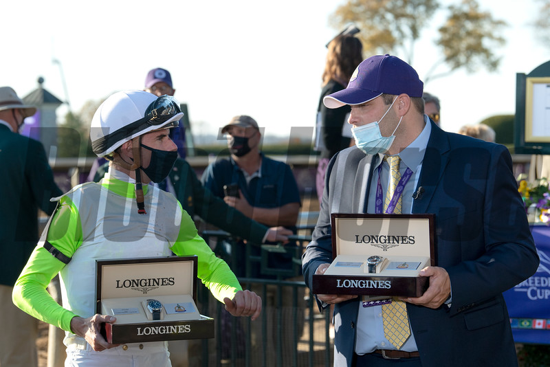 Brad H. Cox in the winner's circle for Monomoy Girl with Florent Geroux win the Breeders' Cup Distaff at Keeneland in Lexington, Ky. on Nov. 7, 2020.