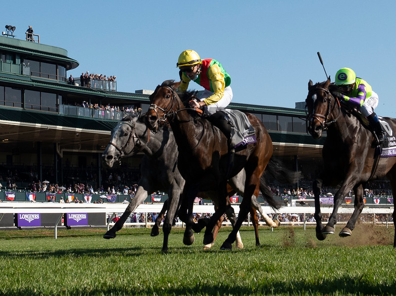 Audarya wins the $2M Breeders' Cup Filly and Mare Mile G1 at Keeneland Race Course Saturday Nov. 7,  2020 in Lexington, KY.  Photo by Skip Dickstein