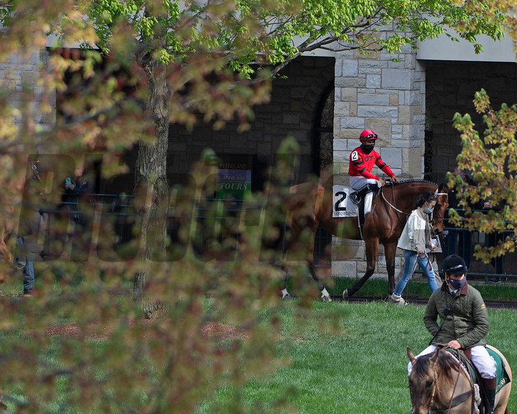 Luis Saez on Boldor in the paddock.<br /> Scenes at Keeneland near Lexington, Ky., on April 15, 2021. .