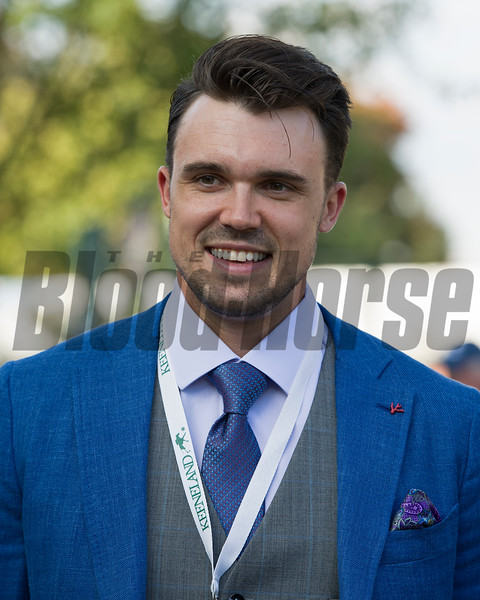 Adam Duvall, Reds Baseball player, in paddock<br /> Time and Motion with John Velazquez wins the Queen Elizabeth II Challenge Cup (gr. IT) presented by Lane's End at Keeneland on Oct. 15, 2016, in Lexington, Ky.