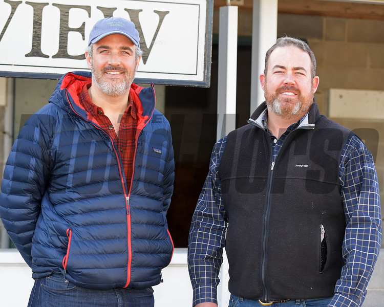Grey, left, and Bryan Lyster with Ashview on Jan. 10, 2018, at Keeneland January sales in Lexington, Ky.