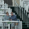 A couple in the temporary stands.<br /> Opening day of the Keeneland fall meeting on October 2, 2020.