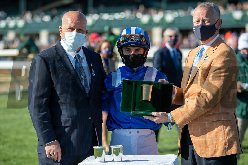 Rick Nichols, Joel Rosario, and Bill Thomasson after Malathaat wins the Ashland Stakes (G1) at Keeneland on April 3, 2021.