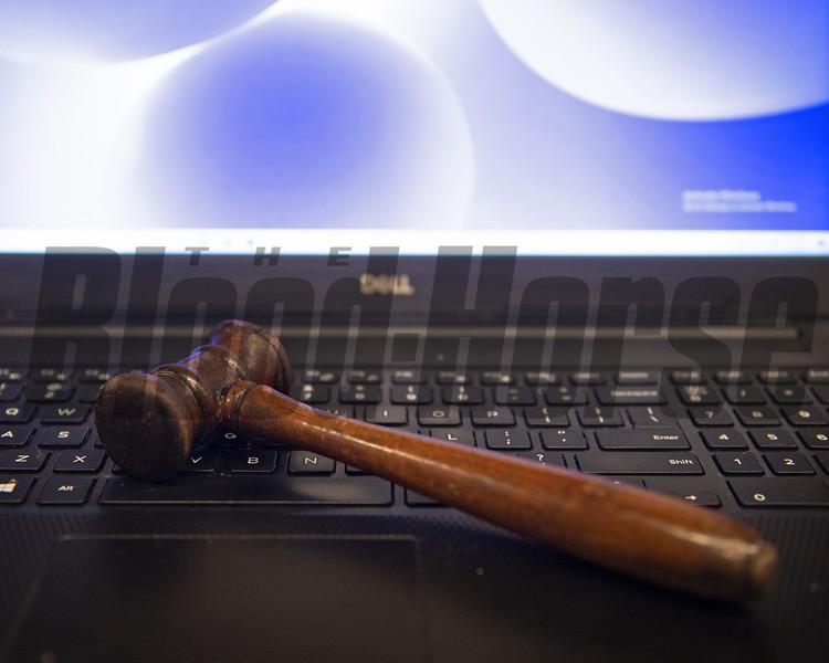 internet bidding: a gavel on a computer<br /> Keeneland January Sales at Keeneland near Lexington, Ky., on Jan. 12, 2021.