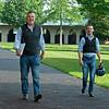 (L-R): agent Frank Lyons and Julien Leparoux. Julien Leparoux at Keeneland  on June 10, 2021.