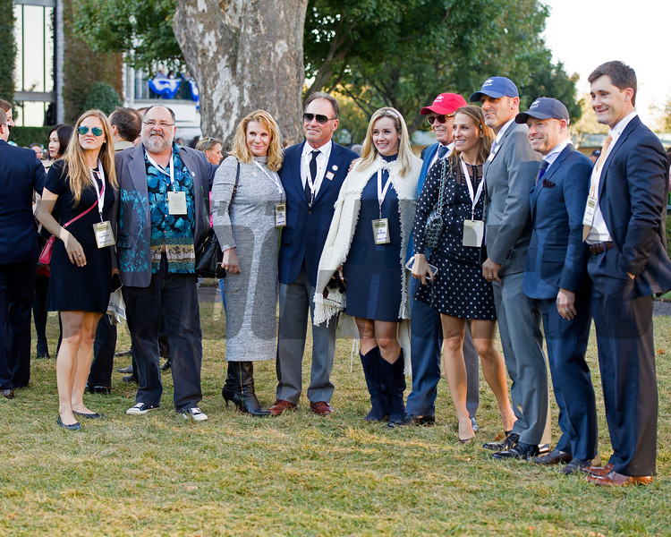 Gary Fenton, second right, with partners in Keeneland paddock. Lightstream with Julien Leparoux<br /> wins the Lexus Raven Run (gr. II) at Keeneland in Lexington, Ky., on Oct. 22, 2016.