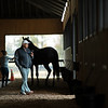 In the shedrow on the phone, Robbie Medina training horses at Blackwood Stables near Versailles, Ky.  on October 22, 2020.