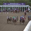 The horses rounded the final turn in the Breeders' Cup Classic (G. I). Mucho Macho Man (center, green cap and white blaze), with Gary Stevens up, won the race. Photo by Crawford Ifland.