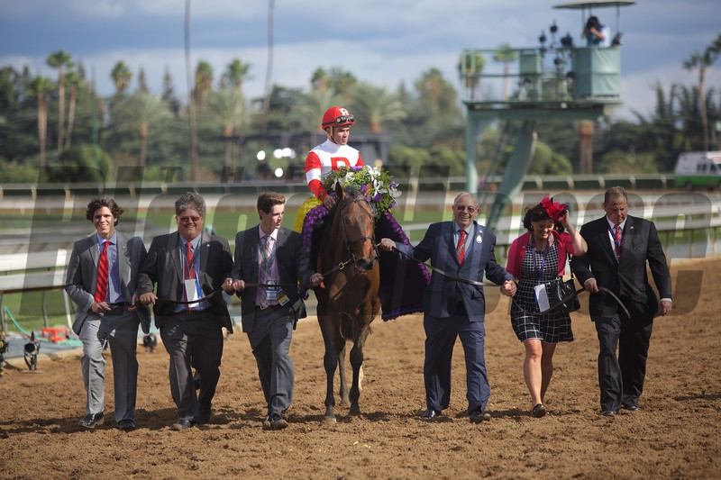 The winning connections of Bobby's Kitten were all smiles after winning the Breeders' Cup Turf Sprint (G. I) on November 1, 2014 at Santa Anita.