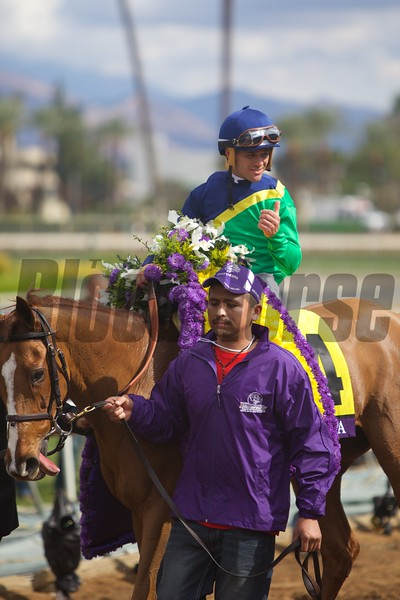Javier Castellano celebrated winning the Breeders' Cup Filly & Mare Turf (G. I) at Santa Anita on November 1, 2014.