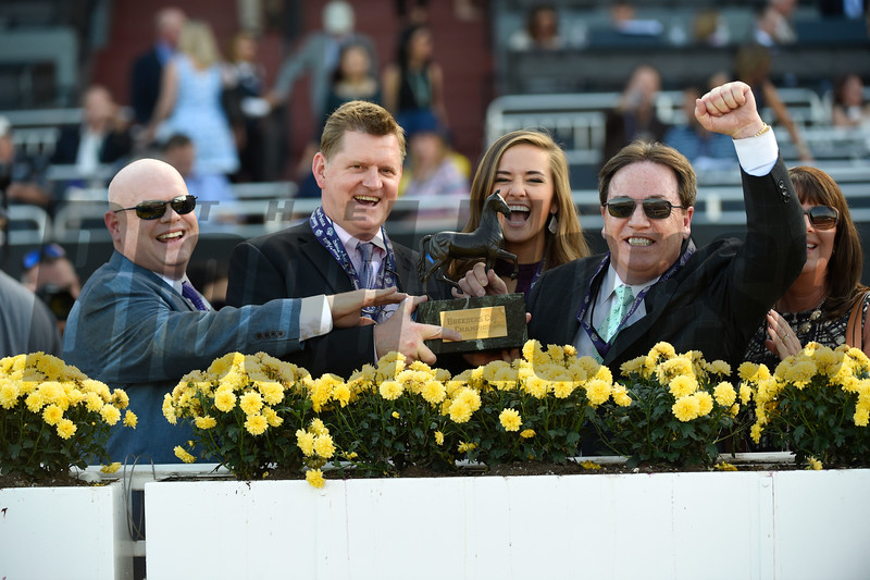 Connections of Tamarkuz celebrate winning the Las Vegas Dirt Mile at Santa Anita on Nov. 4, 2016, in Arcadia, California.